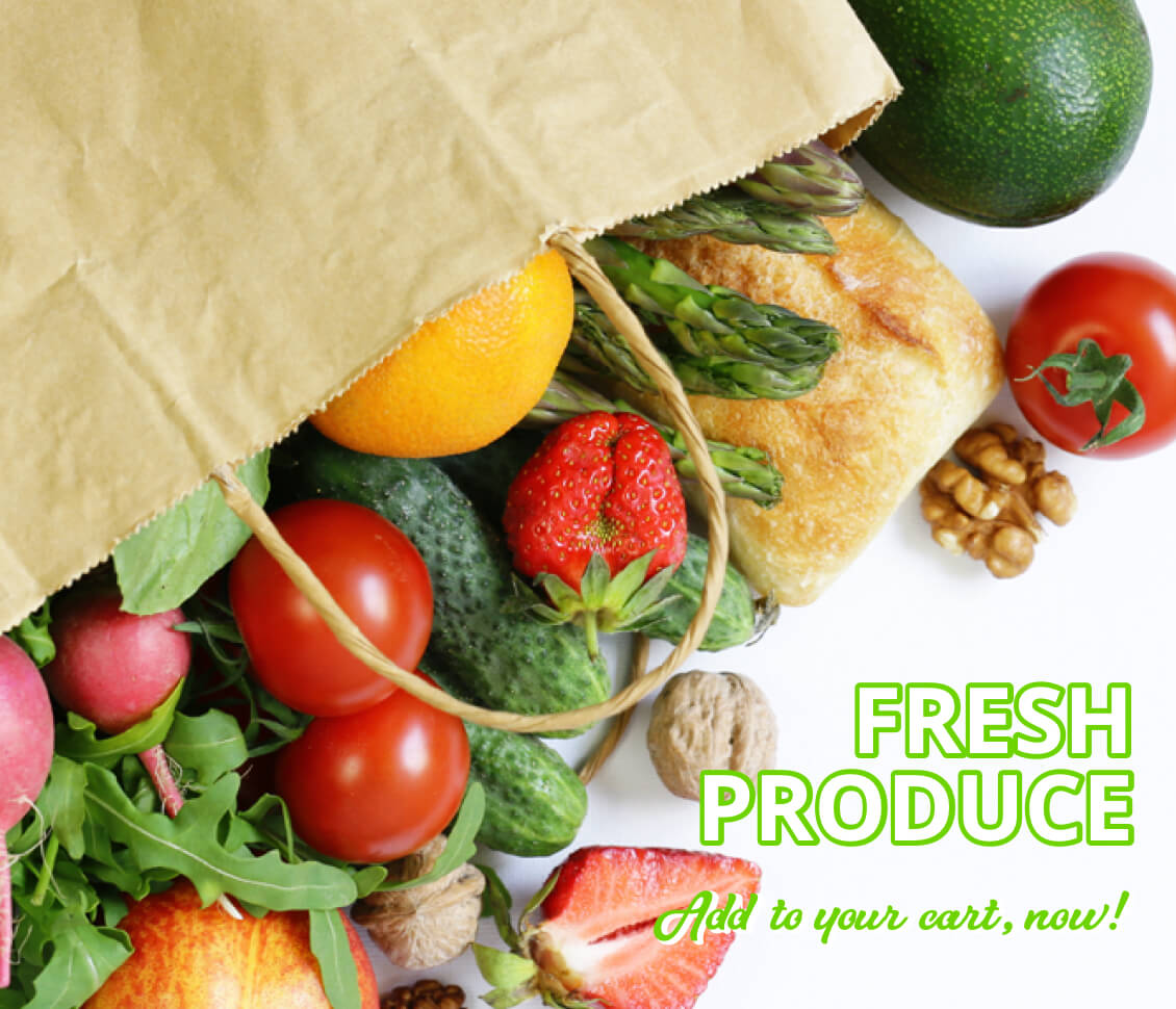Grocery bag with produce, bread and nuts spilling onto a white background.
